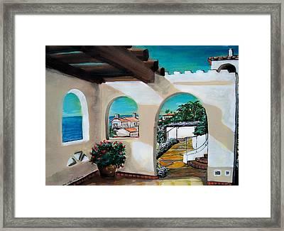 Laguna Beach Sun Patio Framed Print by Mitchell McClenney