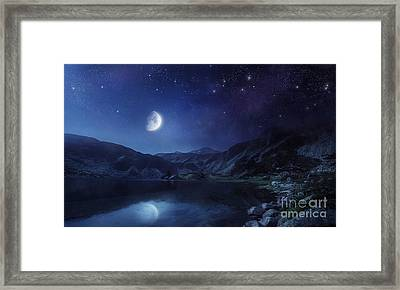 Lake And Mountains At Night Framed Print by Evgeny Kuklev