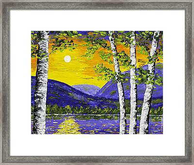 Lake And Mountains At Sunset Palette Knife Painting Framed Print by Keith Webber Jr