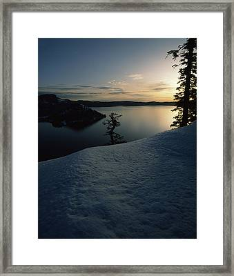 Lake At Sunset, Llao Rock, Wizard Framed Print by Panoramic Images