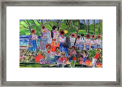 Lake Atitlan, 2005 Dyes On Silk Framed Print by Hilary Simon