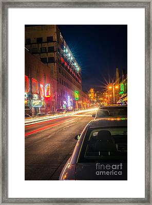 Framed Print featuring the photograph Lake Avenue Saturday Night by Mark David Zahn Photography