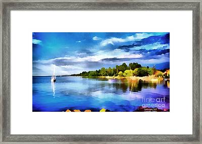 Lake Balaton At Summer Framed Print by Odon Czintos