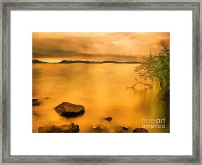 Lake Balaton Sunset Paint Framed Print by Odon Czintos