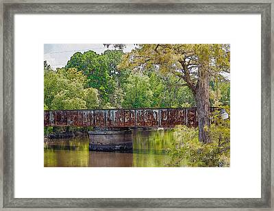 Lake Bistineau Train Trestle Framed Print by Barry Jones