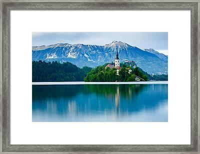 Lake Bled Island Church Framed Print