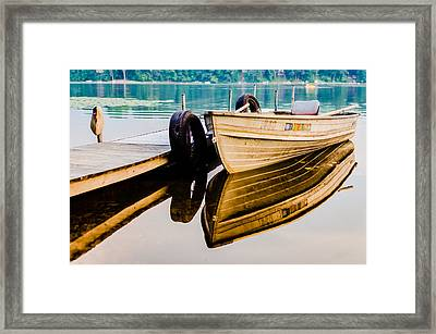 Lake Boat Reflection Framed Print