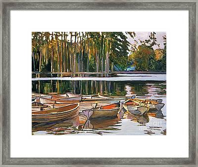 Lake Boats Paris Framed Print by David Lloyd Glover
