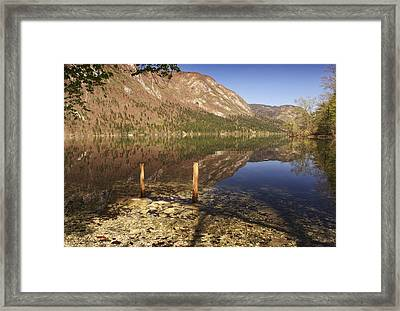 Framed Print featuring the photograph Lake Bohinj by Graham Hawcroft pixsellpix