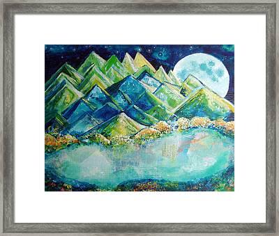Lake By The Moon Light Framed Print by Ashleigh Dyan Bayer