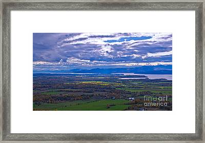 Lake Champlain From The Top Of Mount Philo. Framed Print