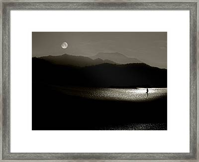 Lake Chatuge Moon Sail Framed Print by William Schmid