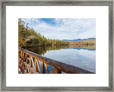 Lake Chocorua And Mount Chocorua From Bridge  Framed Print by Karen Stephenson