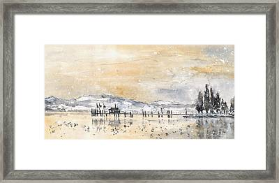 Lake Constance In Winter Framed Print by Miki De Goodaboom