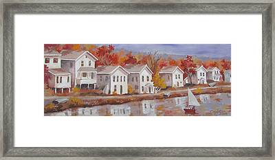 Framed Print featuring the painting Lake Cottages by Tony Caviston