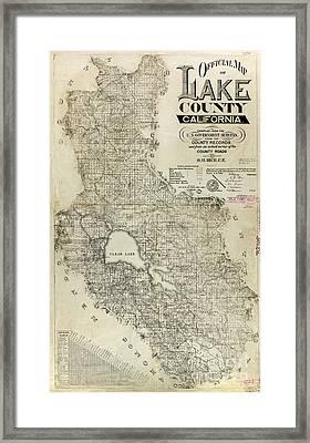 Lake County California Map Framed Print by Jon Neidert
