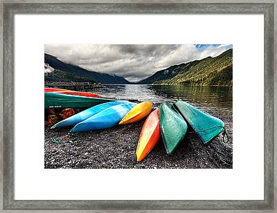 Lake Crescent Kayaks Framed Print by Ian Good