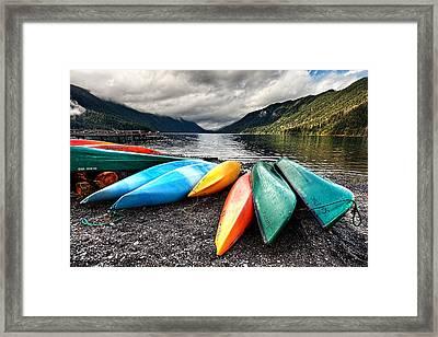 Lake Crescent Kayaks Framed Print