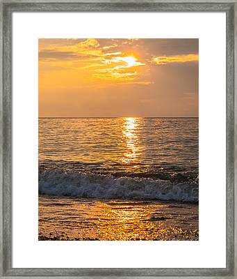 Framed Print featuring the photograph Lake Erie Waves by David Coblitz