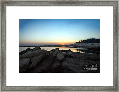 Framed Print featuring the photograph Lake Folsom California Rocky Sunset by Polly Peacock