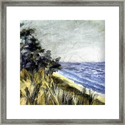 Lake From The Dunes Framed Print by Michelle Calkins