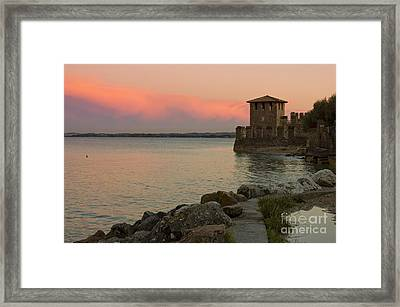 Lake Garda Sunset With The Tower Of The Scaliger Castle Framed Print by Kiril Stanchev