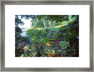 Along The Shore Path - Lake Geneva Wisconsin Framed Print by Bruce Thompson