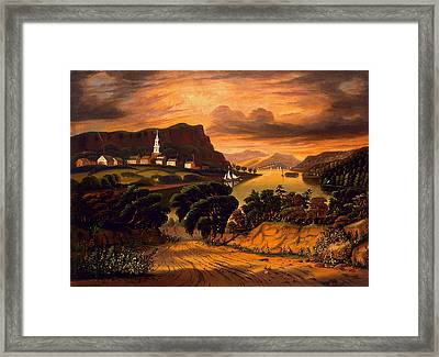 Lake George And The Village Of Caldwell Framed Print by Thomas Chambers