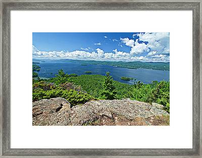 Lake George Shelving Rock Framed Print