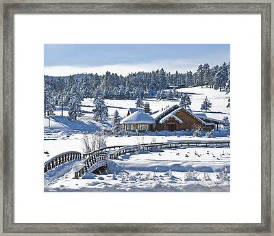 Lake House In Snow Framed Print