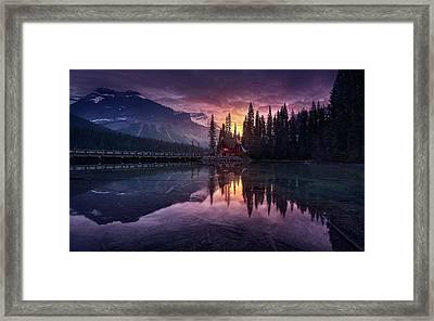 Lake House Sunrise Framed Print