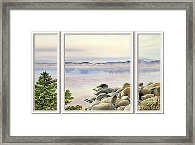 Lake House Window View Framed Print
