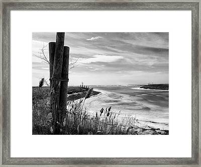 Lake Ice Bw Framed Print by Peter Chilelli