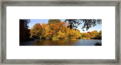 Framed Print featuring the photograph Lake In Central Park In Fall by Yue Wang
