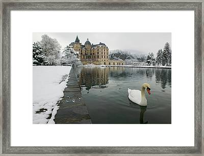 Lake In Front Of A Chateau, Chateau De Framed Print by Panoramic Images