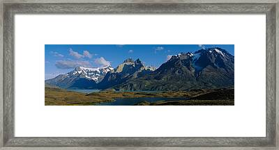 Lake In Front Of Mountains, Jagged Framed Print