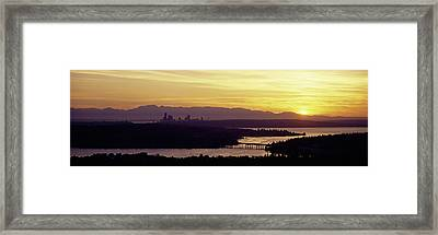 Lake In Front Of Mountains, Lake Framed Print