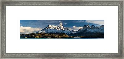 Lake In Front Of Mountains, Lake Pehoe Framed Print by Panoramic Images