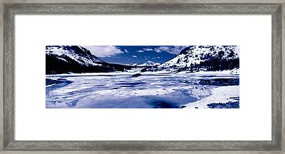 Lake In Front Of Snowcapped Mountains Framed Print