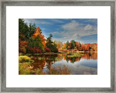 Lake Jean Reflections Framed Print by Lori Deiter
