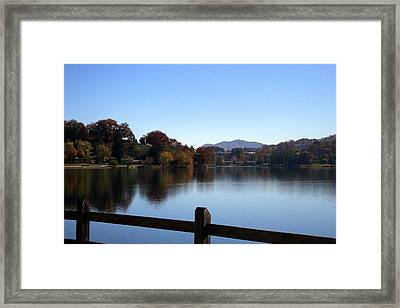 Lake Junaluska In The Mountains Framed Print by Paula Tohline Calhoun