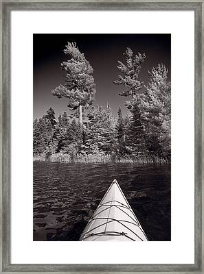 Lake Kayaking Bw Framed Print by Steve Gadomski