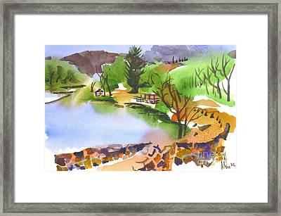 Lake Killarney With Rock Wall Framed Print
