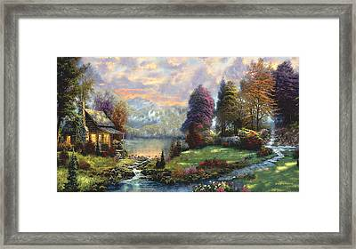 Lake Land Thomas Kinkade Look-a-like Framed Print