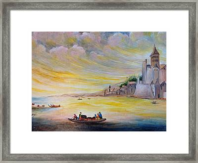 Framed Print featuring the painting Lake Landscape by Egidio Graziani