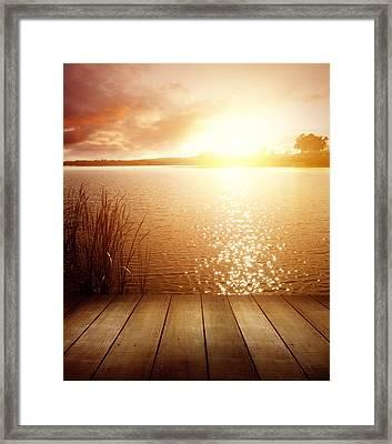 Lake Light Framed Print by Les Cunliffe