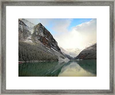 Lake Louise After The Dusting Of Snow Framed Print