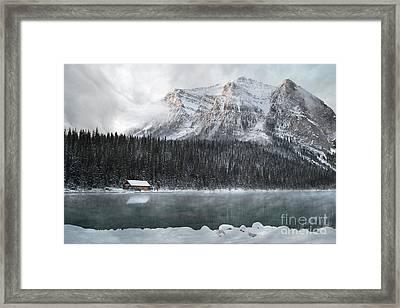Lake Louise Cabin Morning Framed Print by Andrea Hazel Ihlefeld