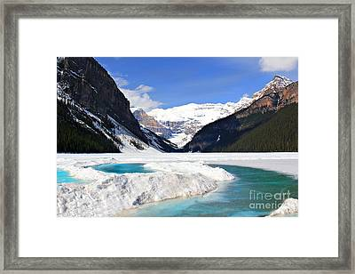 Lake Louise Canada Framed Print by Leslie Kirk