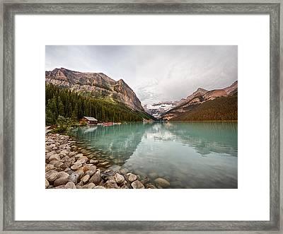 Lake Louise Canoe Rental Framed Print